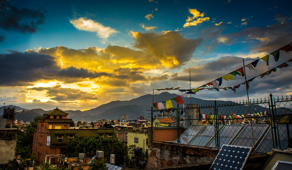 Prayer flags over Thamel